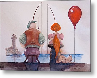 Fishing With Grandpa Metal Print