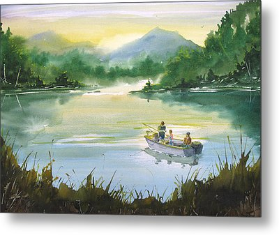 Fishing With Grandpa Metal Print by Sean Seal