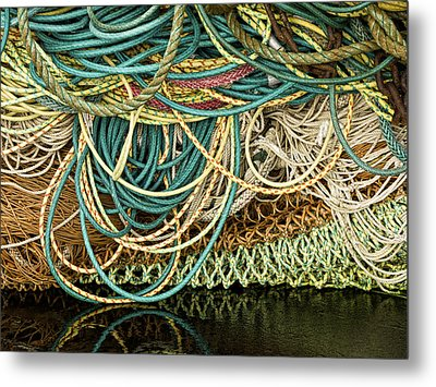 Fishnets And Ropes Metal Print by Carol Leigh