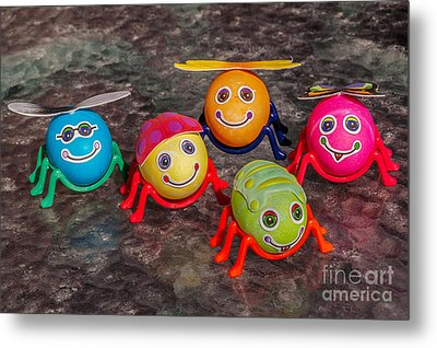 Five Easter Egg Bugs Metal Print by Sue Smith