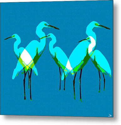 Metal Print featuring the painting Five Egrets by David Lee Thompson