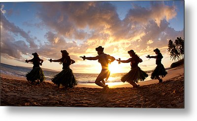 Five Hula Dancers On The Beach Metal Print