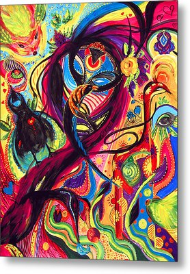 Metal Print featuring the painting Raven Masquerade by Marina Petro