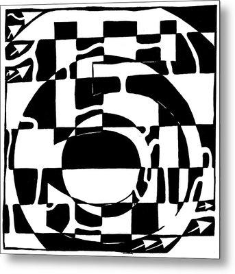 Five Maze Metal Print by Yonatan Frimer Maze Artist