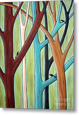 Five Trees And Three Birds Metal Print by Karla Gerard
