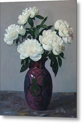 Five White Peonies In Purple Vase Metal Print