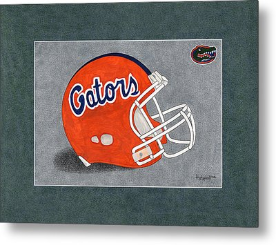 Fla. Gators Helmet T-shirt  Metal Print by Herb Strobino
