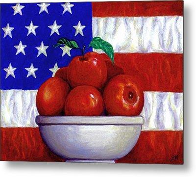 Flag And Apples Metal Print by Linda Mears