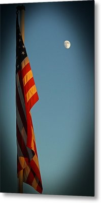 Flag And The Moon Metal Print by Charles Ables