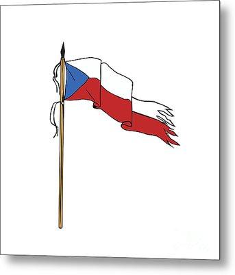 Flag Czech Republic Torn Ripped Retro Metal Print