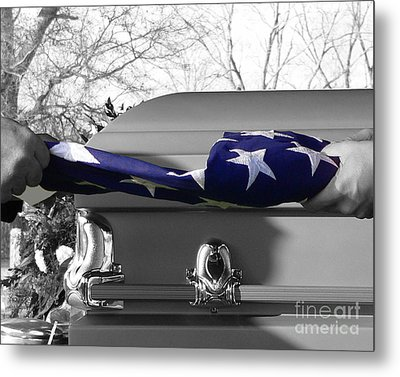 Flag For The Fallen - Selective Color Metal Print by Al Powell Photography USA