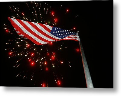 Flag In All Its Fiery Glory Metal Print by Shirley Heier