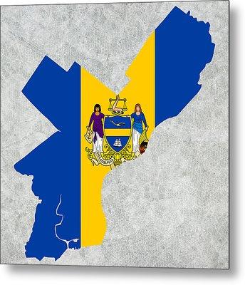 Flag Map Of Philadelphia Metal Print