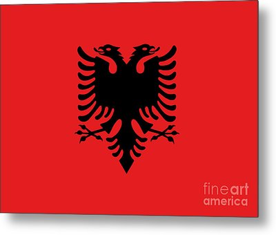 Metal Print featuring the digital art Flag Of Albania Authentic Version by Bruce Stanfield