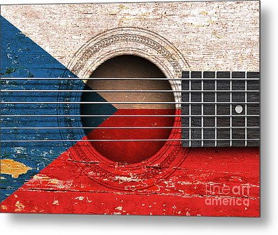 Flag Of Czech Republic On An Old Vintage Acoustic Guitar Metal Print