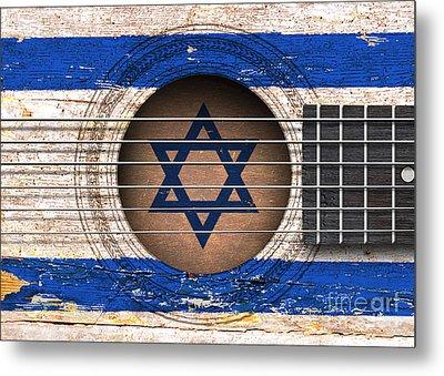 Flag Of Israel On An Old Vintage Acoustic Guitar Metal Print