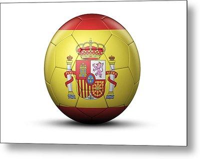 Flag Of Spain On Soccer Ball Metal Print