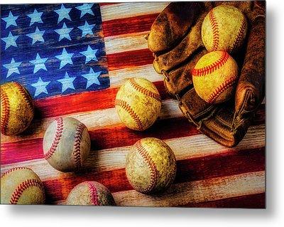 Flag With Baseballs Metal Print by Garry Gay