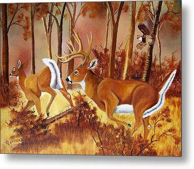 Flagging Deer Metal Print by Debbie LaFrance