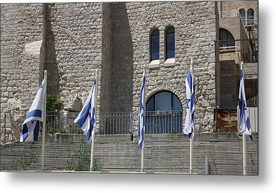 Metal Print featuring the photograph Flags At The Kotel by Julie Alison
