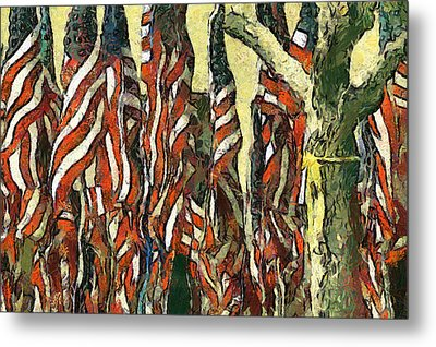 Flags For The Fourth Metal Print by Elaine Frink