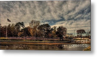 Metal Print featuring the photograph Flags In Deering Oaks Park by David Bishop