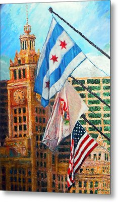 Flags Over Wrigley Metal Print by Michael Durst