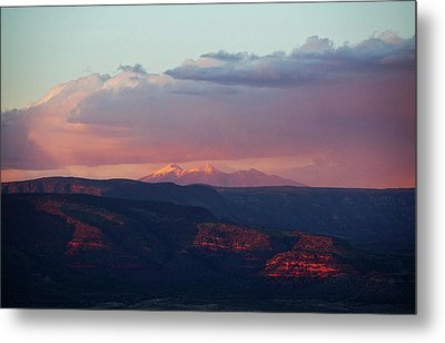Metal Print featuring the photograph Flagstaff's San Francisco Peaks Snowy Sunset by Ron Chilston