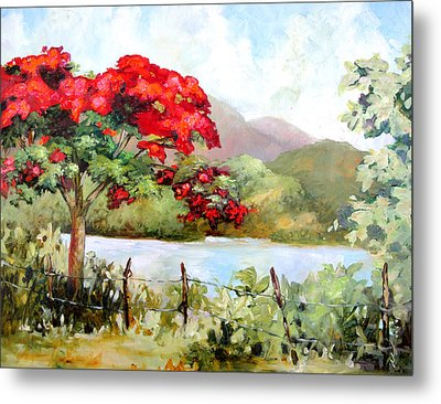 Flamboyan By The Lake Metal Print by Monica Linville