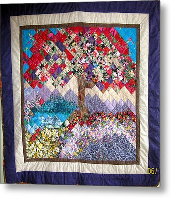 Flame Tree Quilted Wallhanging Metal Print by Sarah Hornsby