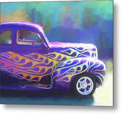 Flamed 1940 Ford Metal Print