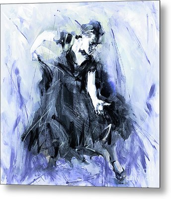 Metal Print featuring the painting Flamenco Dancer Art 45h by Gull G