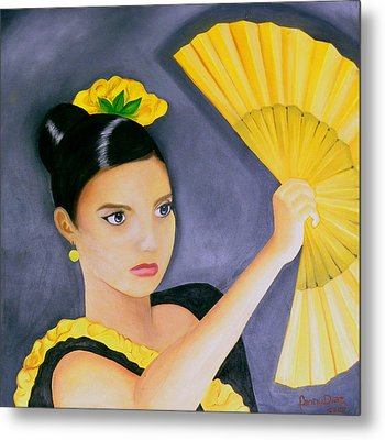 Flamenco Girl Metal Print by Fanny Diaz