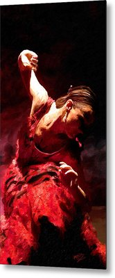 Metal Print featuring the painting Flamenco Poise by James Shepherd