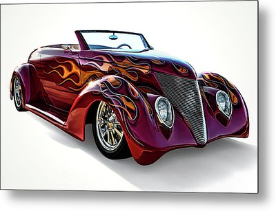 Flamin' Red Roadster Metal Print