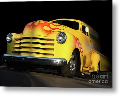 Flaming Chevy Metal Print by Tom Griffithe