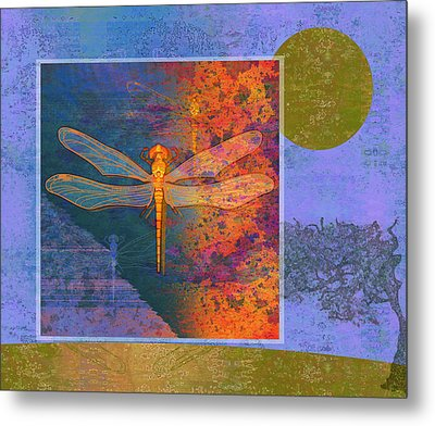 Flaming Dragonfly Metal Print by Mary Ogle