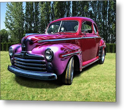 Flaming Rose Hot Rod Metal Print