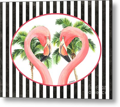 Metal Print featuring the painting Flamingo Amore 5 by Debbie DeWitt