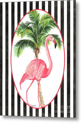 Metal Print featuring the painting Flamingo Amore 7 by Debbie DeWitt