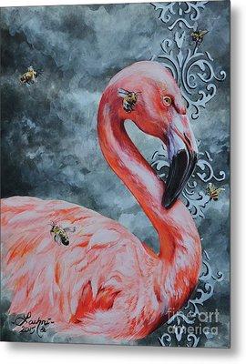 Flamingo And Bees Metal Print