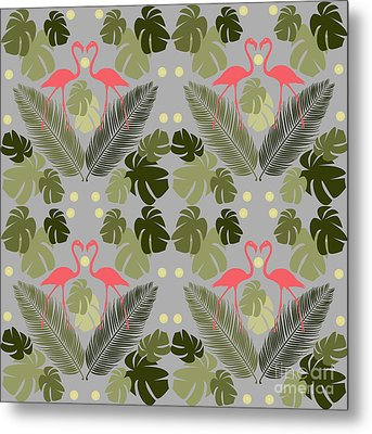 Flamingo And Palms Metal Print