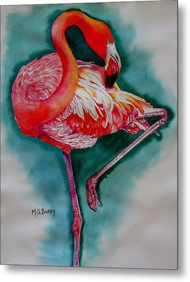 Flamingo Ballerina Metal Print by Maria Barry