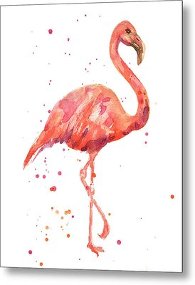 Flamingo Facing Right Metal Print by Alison Fennell