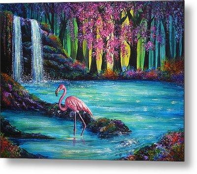 Flamingo Falls Metal Print by Ann Marie Bone