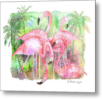 Flamingo Five Metal Print by Arline Wagner