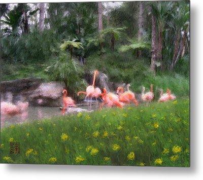 Flamingo Garden Metal Print