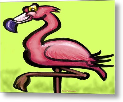 Metal Print featuring the painting Flamingo by Kevin Middleton