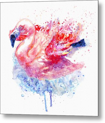 Flamingo On The Water Metal Print