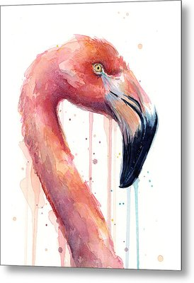 Flamingo Painting Watercolor - Facing Right Metal Print by Olga Shvartsur
